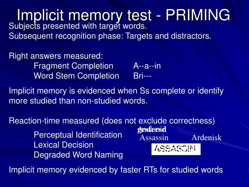 Implicit memory test
