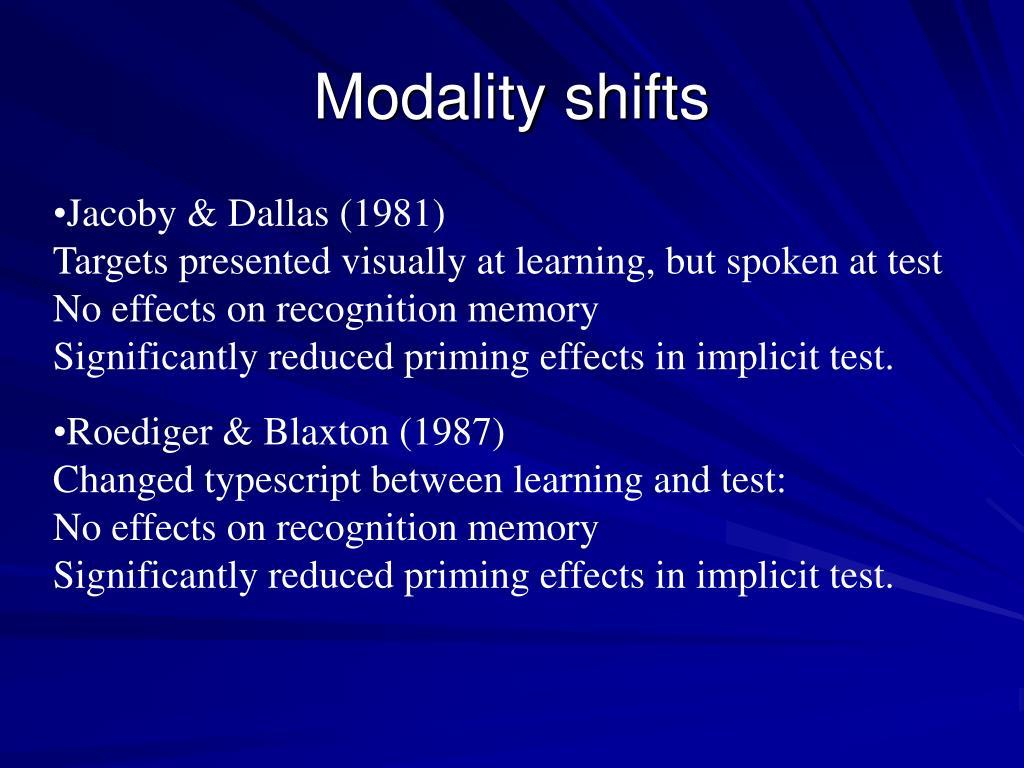 Modality shifts