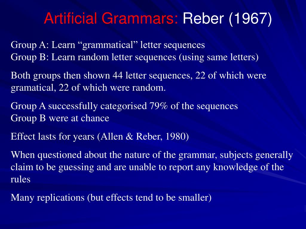 Artificial Grammars: