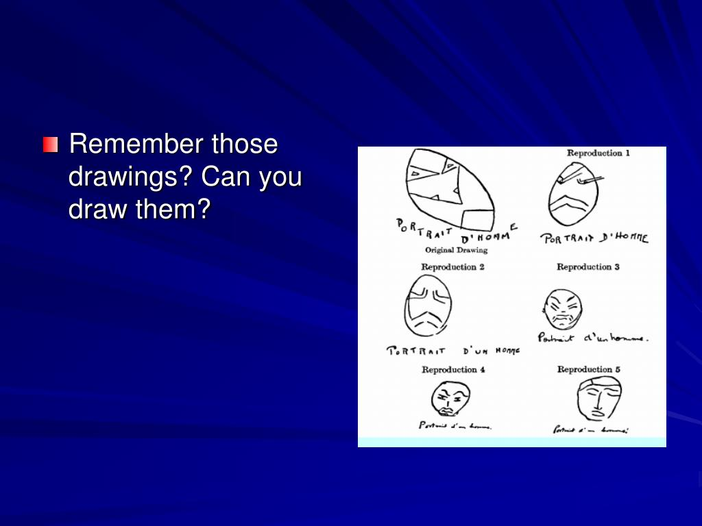 Remember those drawings? Can you draw them?