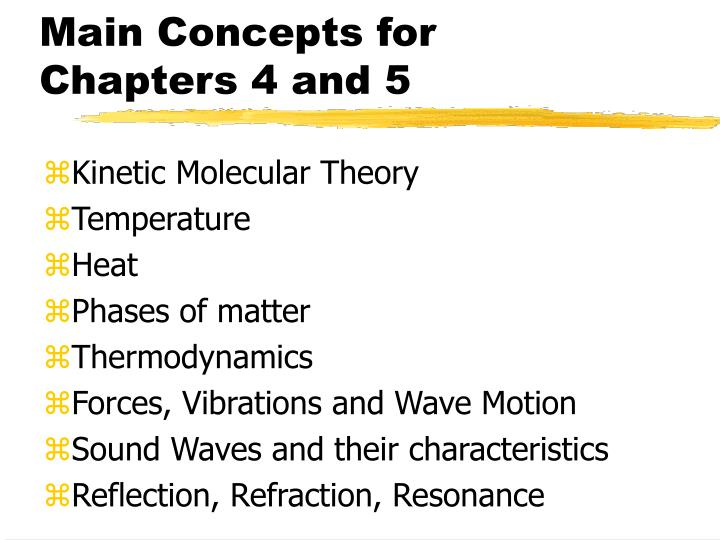 Main Concepts for Chapters 4 and 5