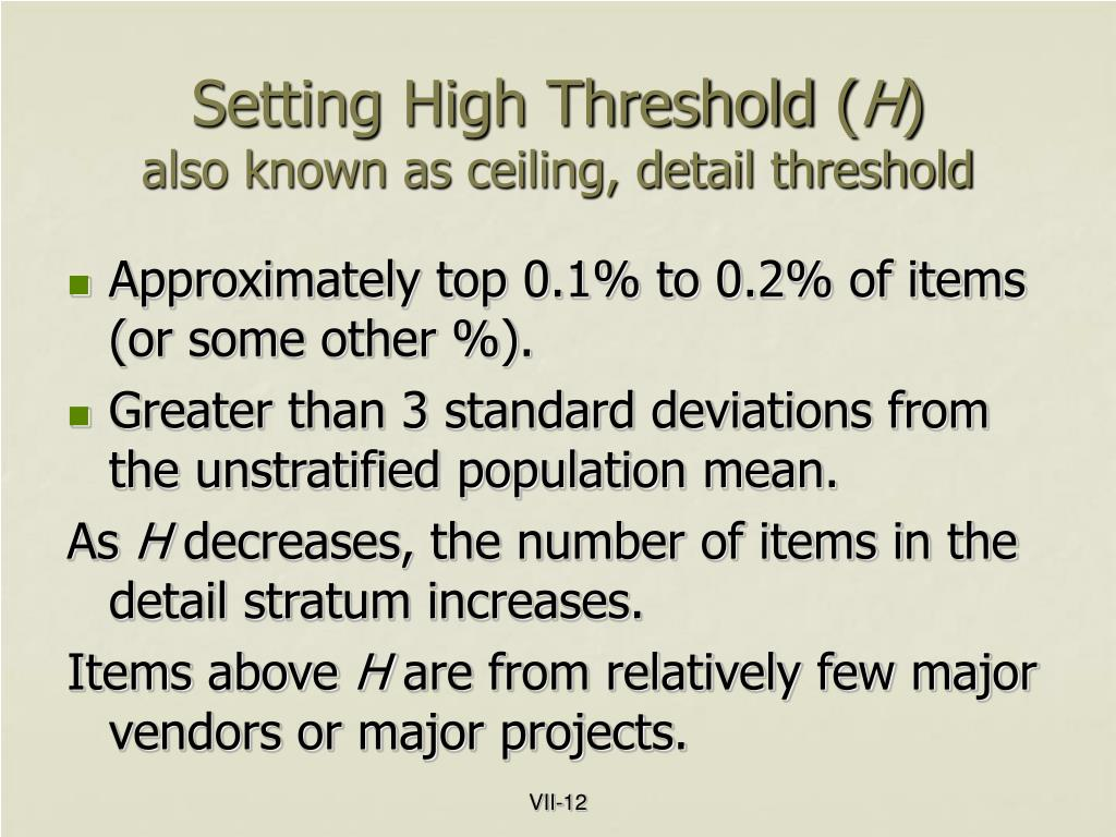 Setting High Threshold (