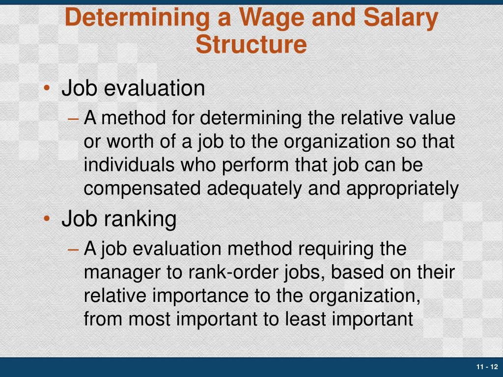 Determining a Wage and Salary Structure