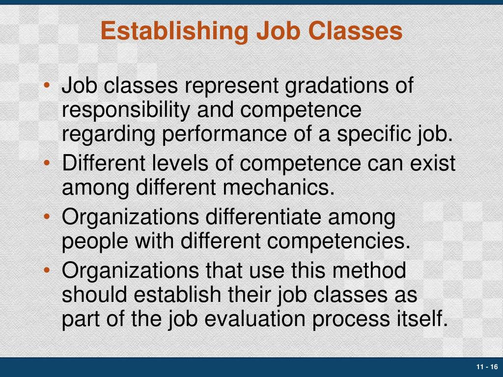 Establishing Job Classes