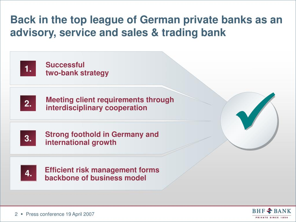 Back in the top league of German private banks as an advisory, service and sales & trading bank