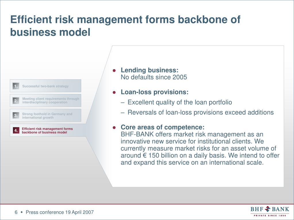 Efficient risk management forms backbone of business model