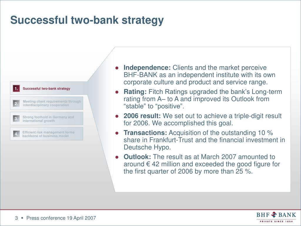 Successful two-bank strategy