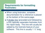 requirements for formatting footnotes