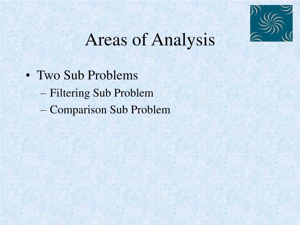 Areas of Analysis