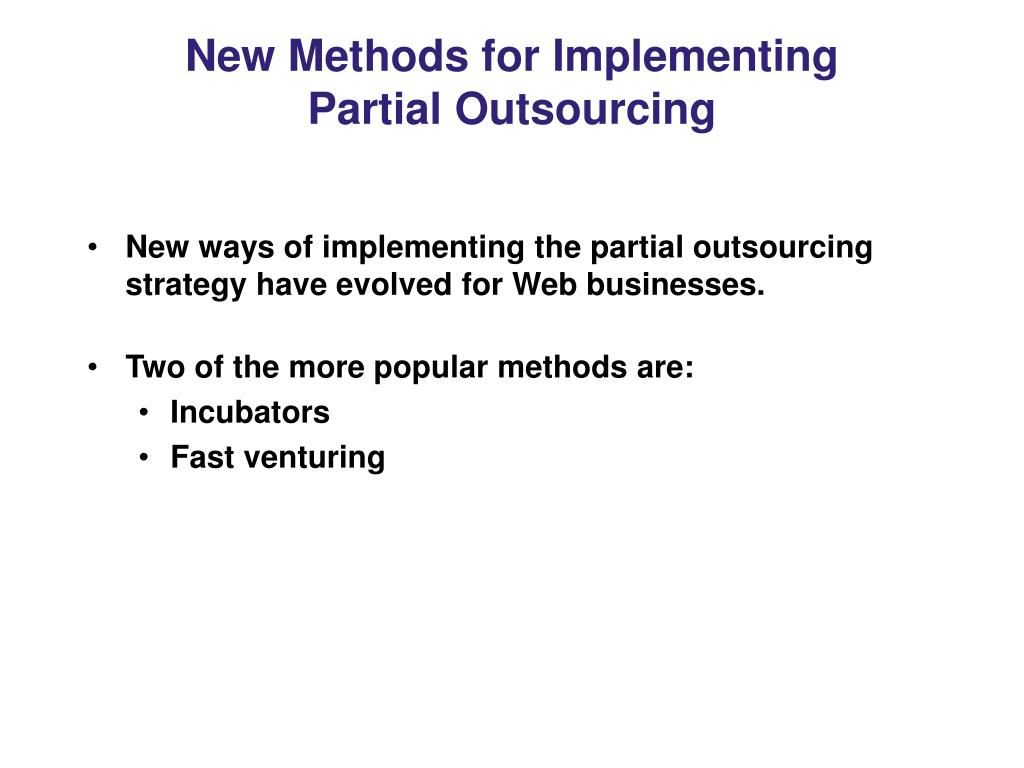 New Methods for Implementing