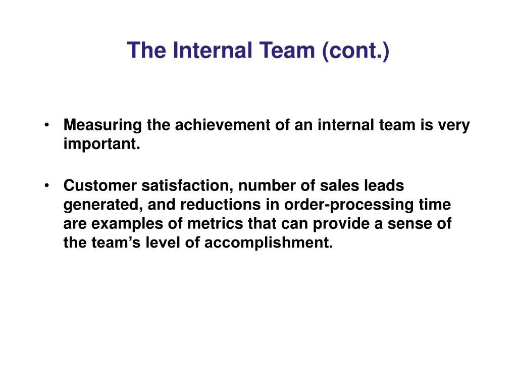 The Internal Team (cont.)