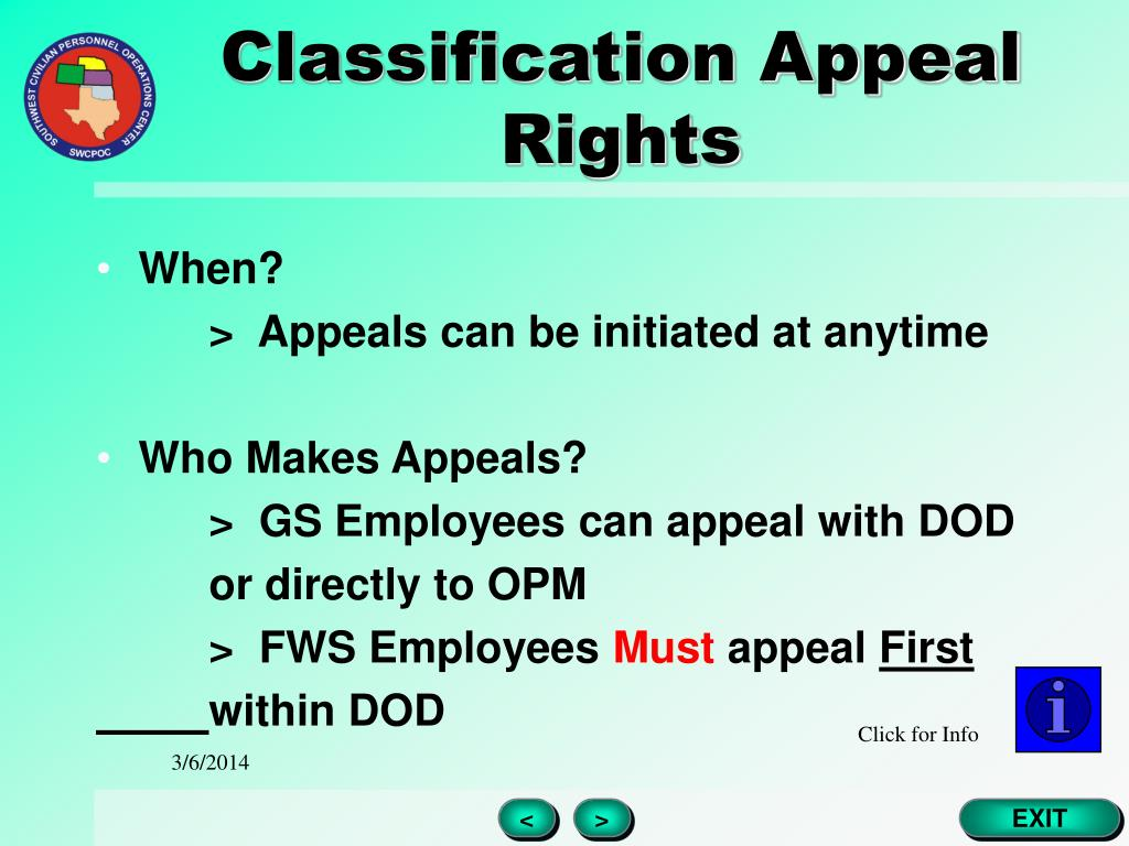 Classification Appeal Rights