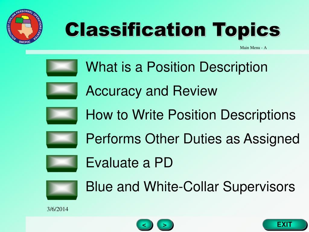 Classification Topics