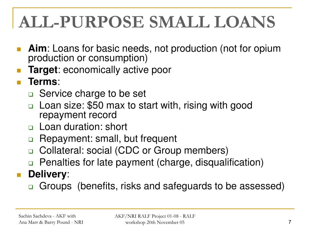 ALL-PURPOSE SMALL LOANS