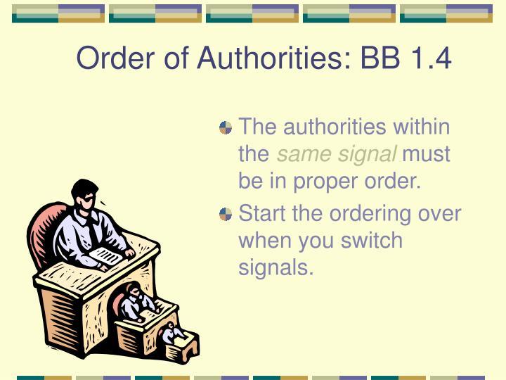 Order of Authorities: BB 1.4