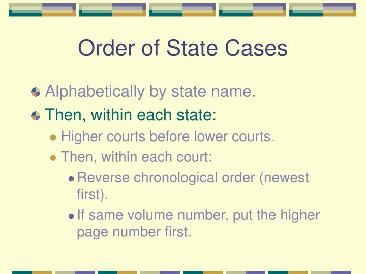 Order of State Cases