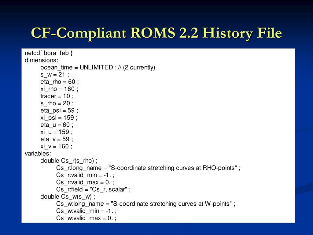 CF-Compliant ROMS 2.2 History File