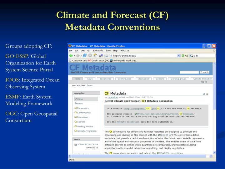 Climate and forecast cf metadata conventions