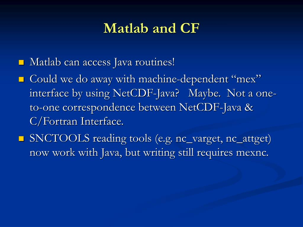 Matlab and CF