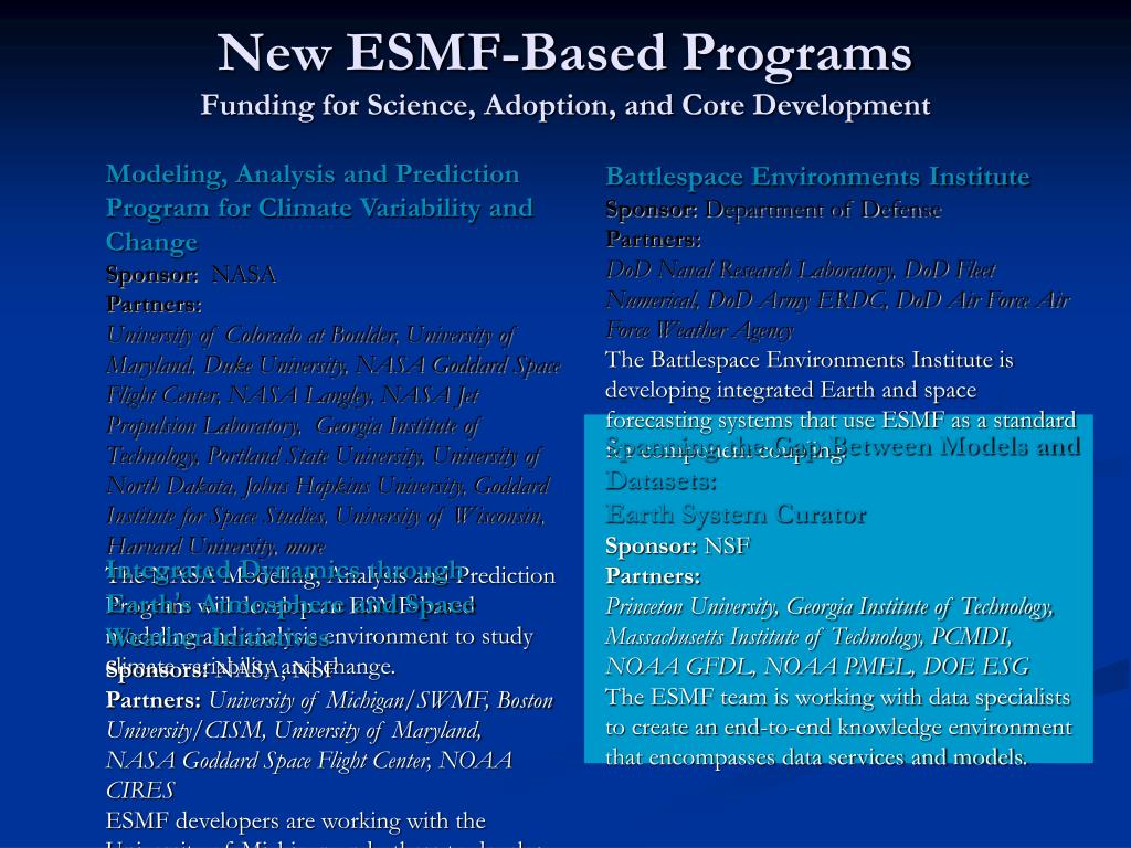 New ESMF-Based Programs