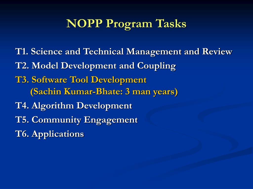 NOPP Program Tasks