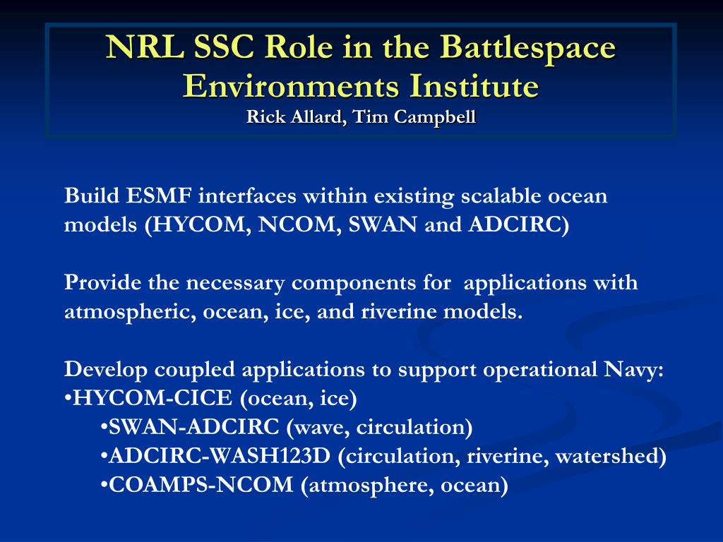 NRL SSC Role in the Battlespace Environments Institute