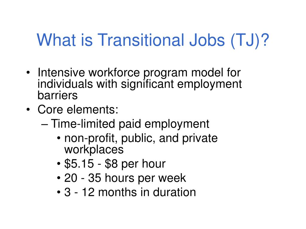 What is Transitional Jobs (TJ)?