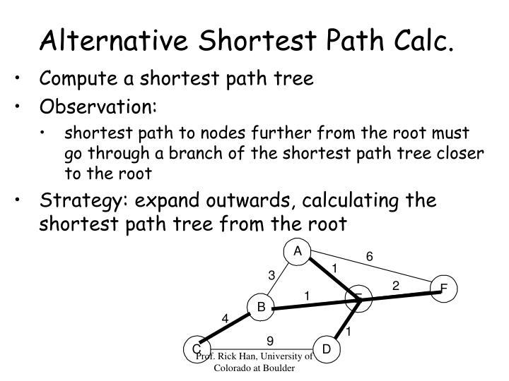 Alternative Shortest Path Calc.
