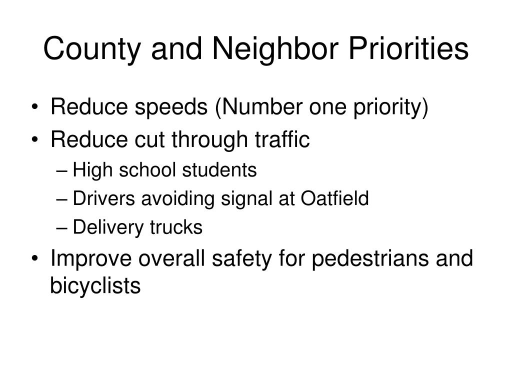 County and Neighbor Priorities
