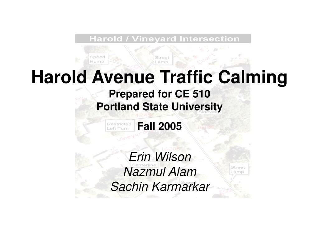 Harold Avenue Traffic Calming
