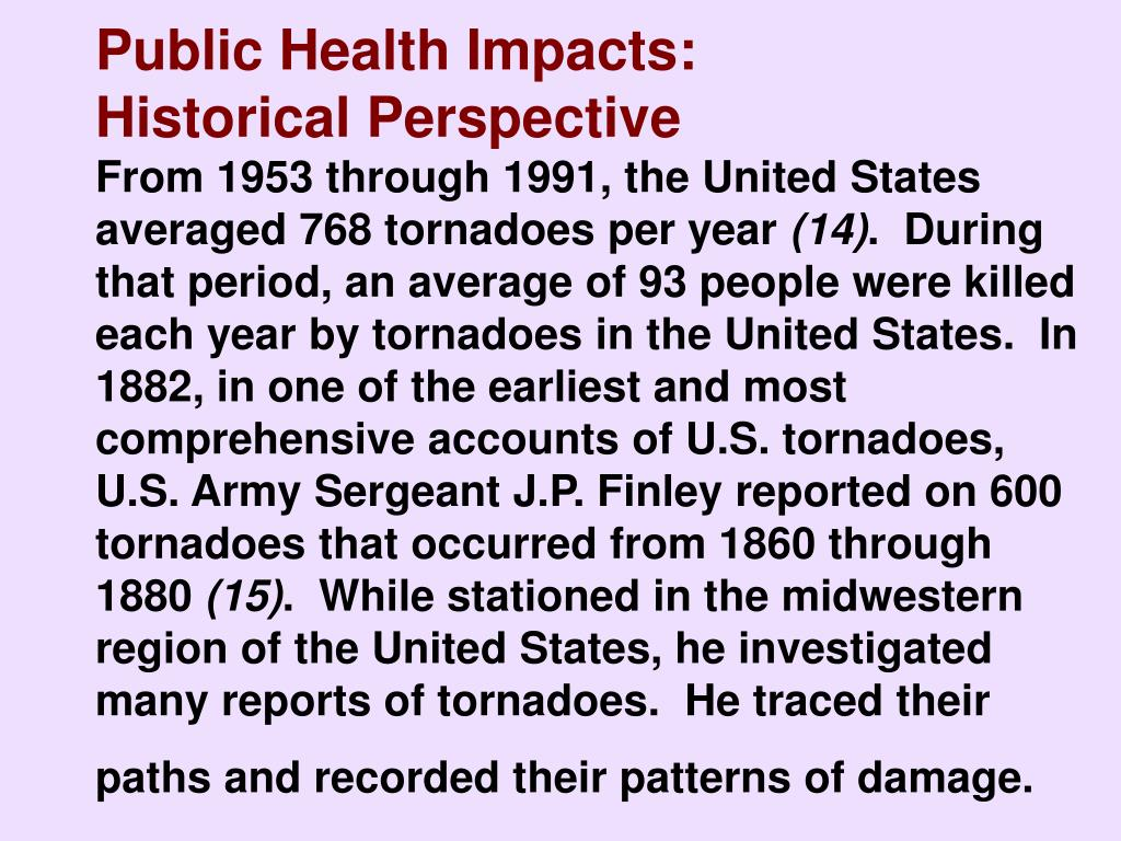 Public Health Impacts:                Historical Perspective