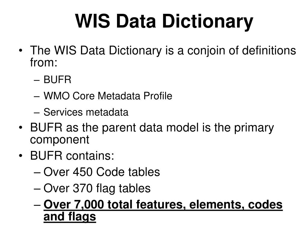 WIS Data Dictionary