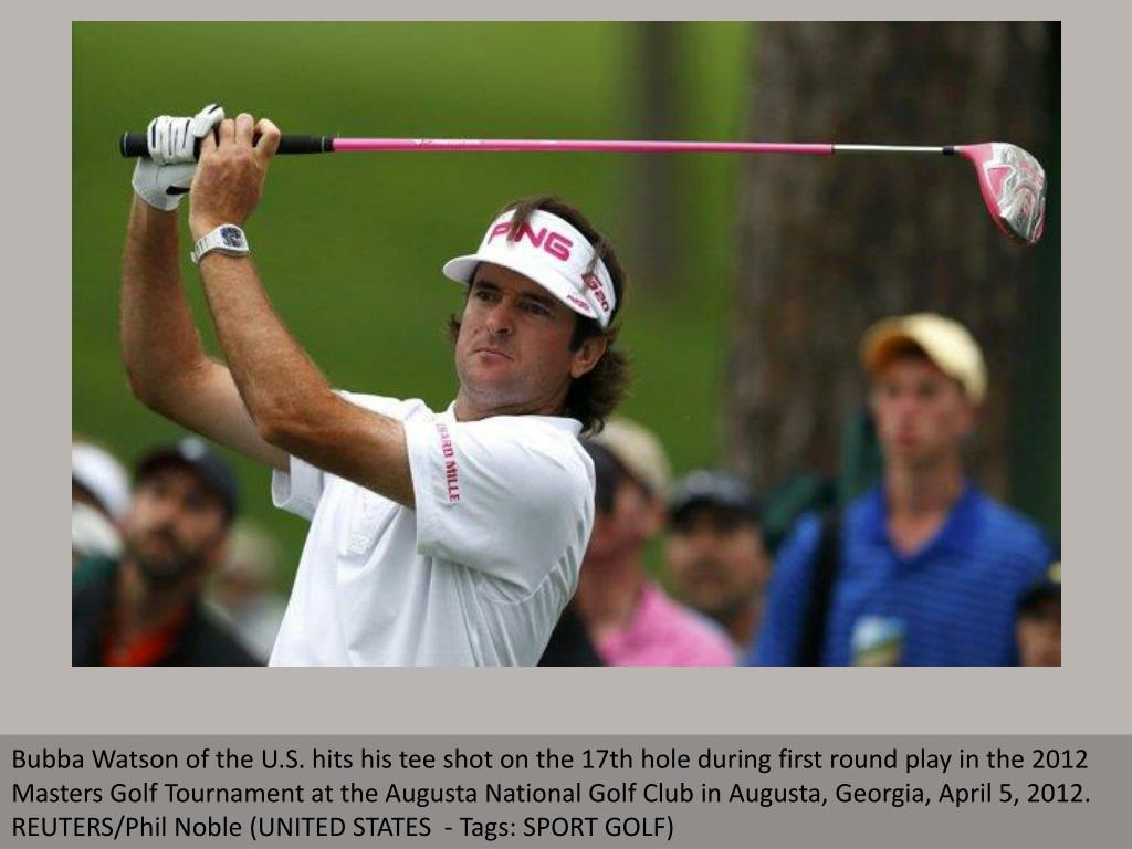 Bubba Watson of the U.S. hits his tee shot on the 17th hole during first round play in the 2012 Masters Golf Tournament at the Augusta National Golf Club in Augusta, Georgia, April 5, 2012. REUTERS/Phil Noble (UNITED STATES  - Tags: SPORT GOLF)