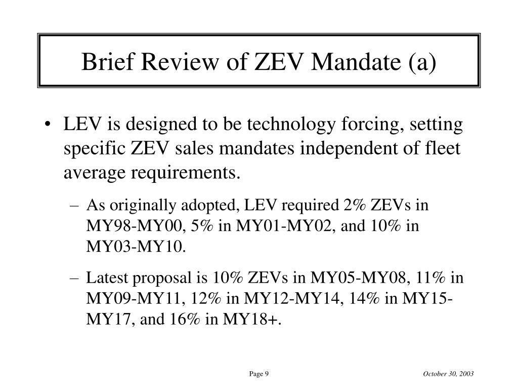 Brief Review of ZEV Mandate (a)
