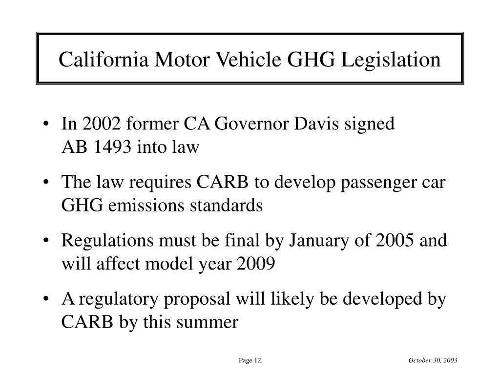 California Motor Vehicle GHG Legislation