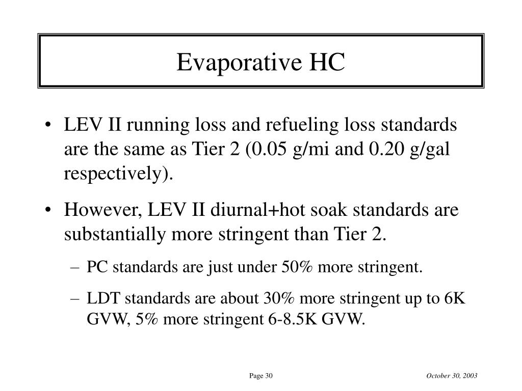 Evaporative HC