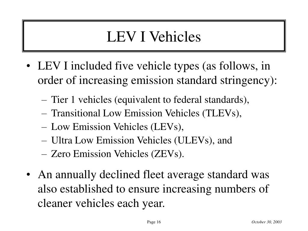 LEV I Vehicles