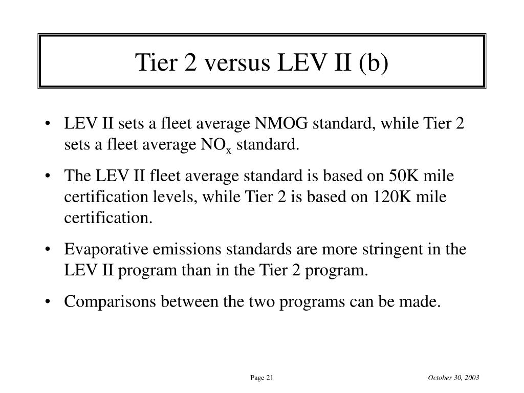 Tier 2 versus LEV II (b)