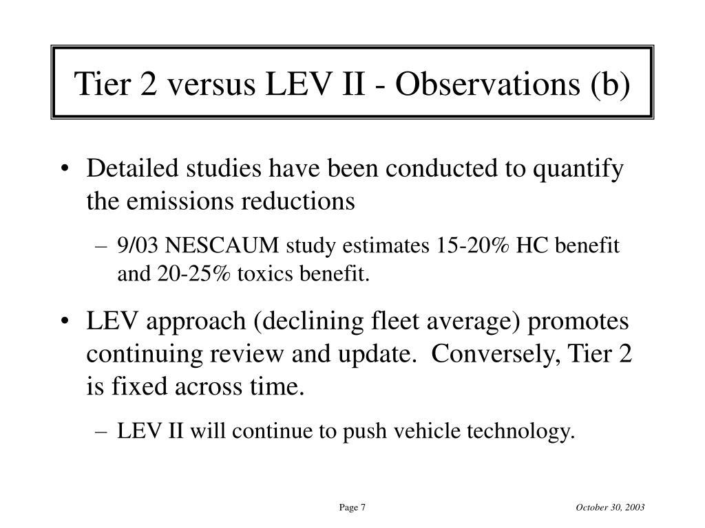 Tier 2 versus LEV II - Observations (b)