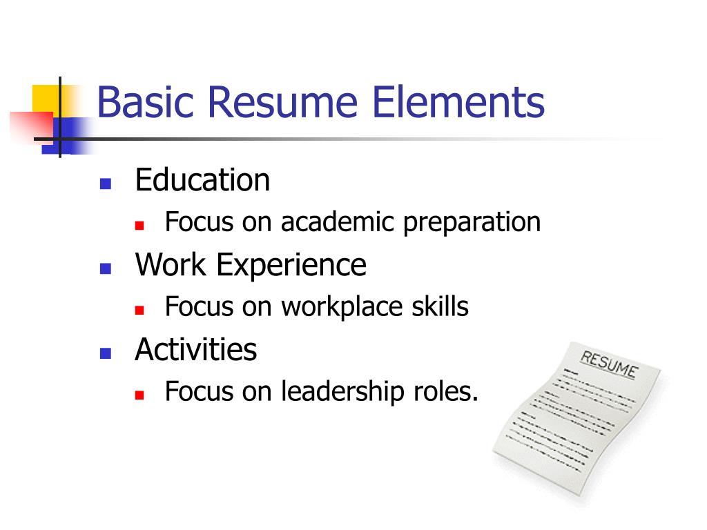 Basic Resume Elements