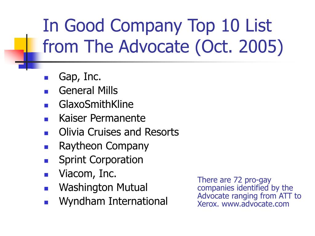 In Good Company Top 10 List from The Advocate (Oct. 2005)