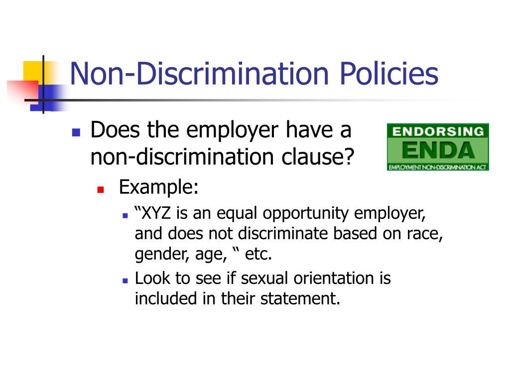 Non-Discrimination Policies