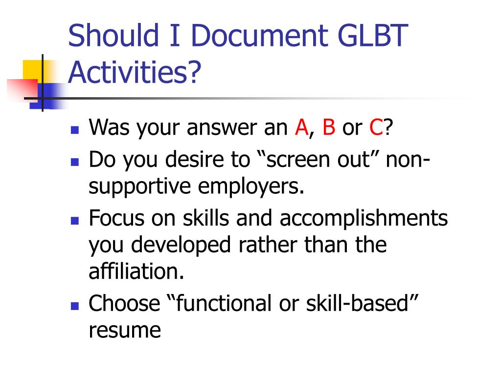 Should I Document GLBT Activities?