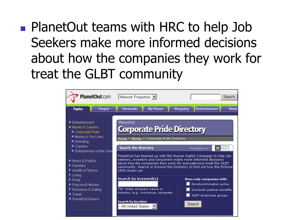 PlanetOut teams with HRC to help Job Seekers make more informed decisions about how the companies they work for treat the GLBT community