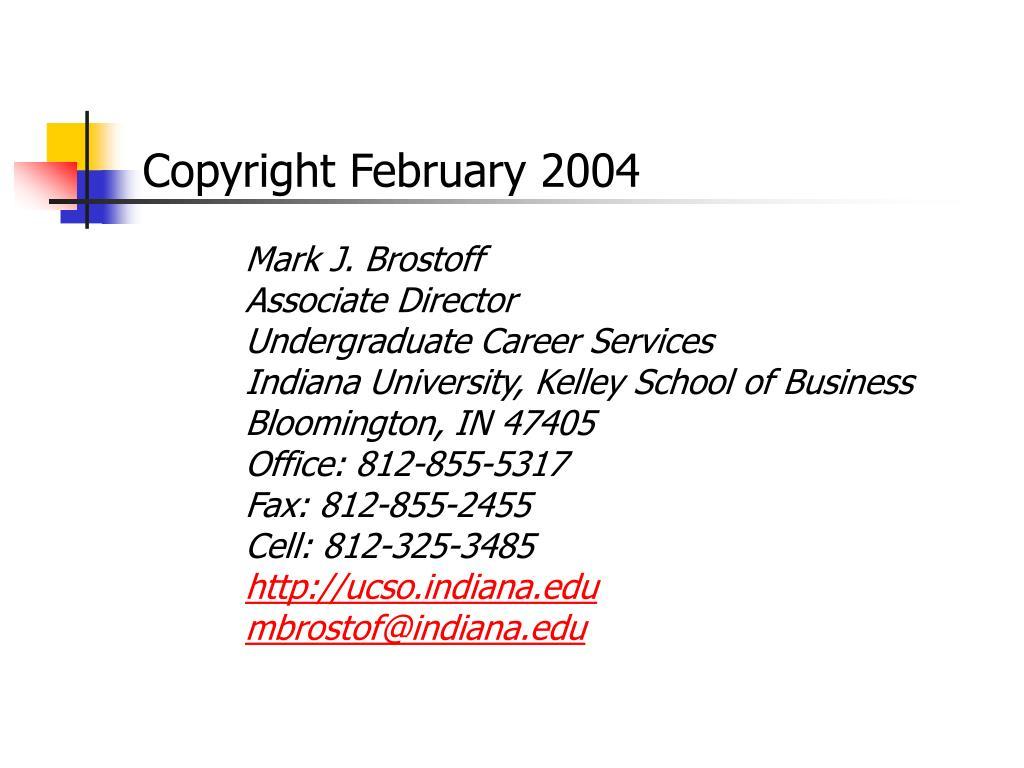 Copyright February 2004