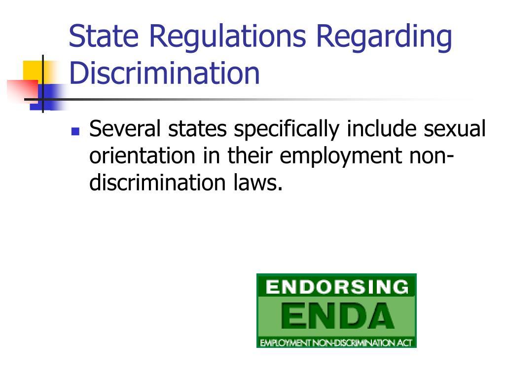 State Regulations Regarding Discrimination
