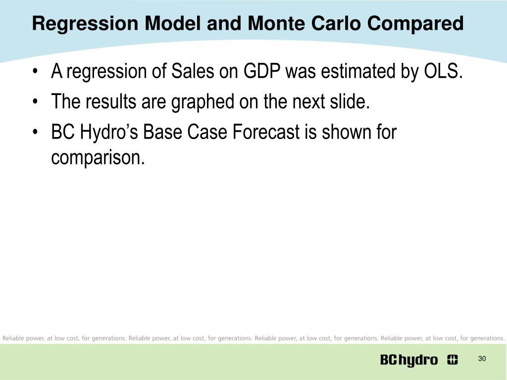 Regression Model and Monte Carlo Compared