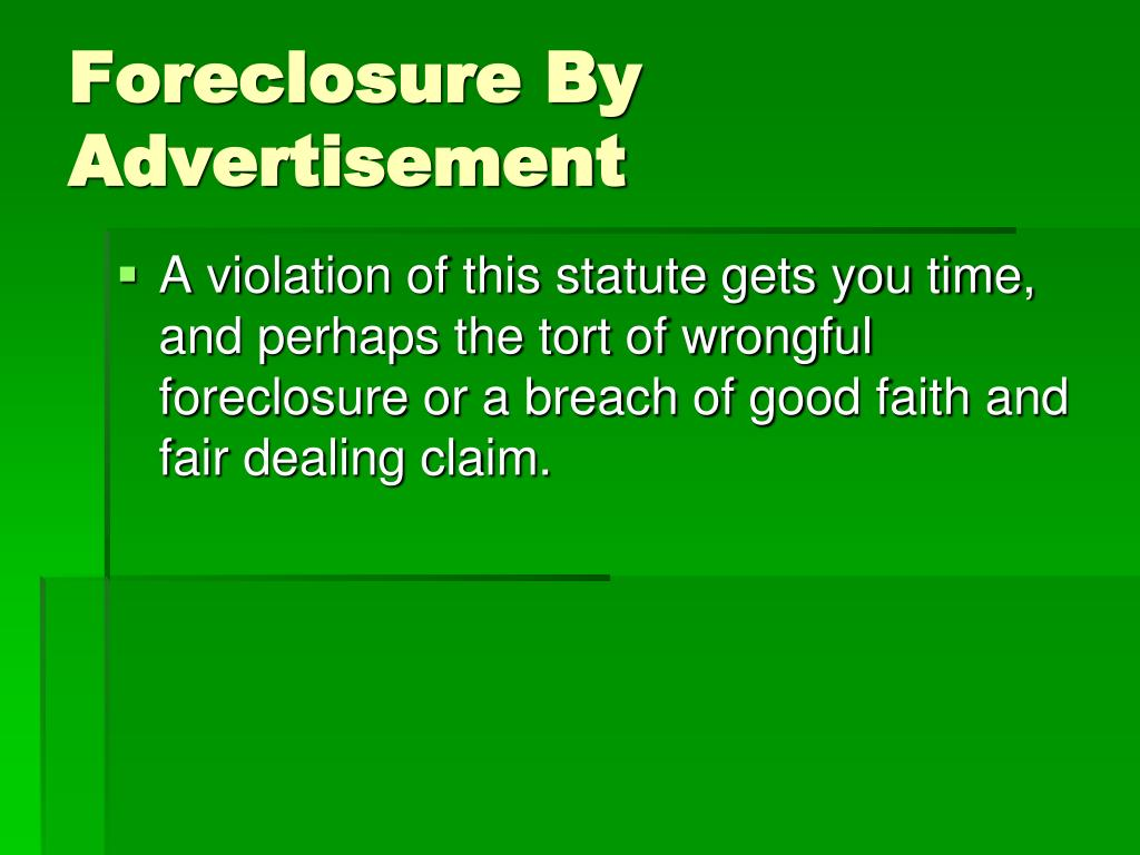 Foreclosure By Advertisement