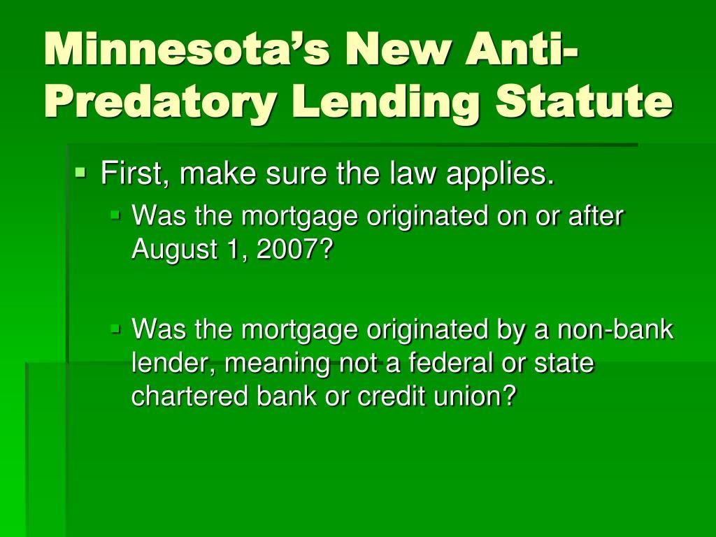 Minnesota's New Anti-Predatory Lending Statute