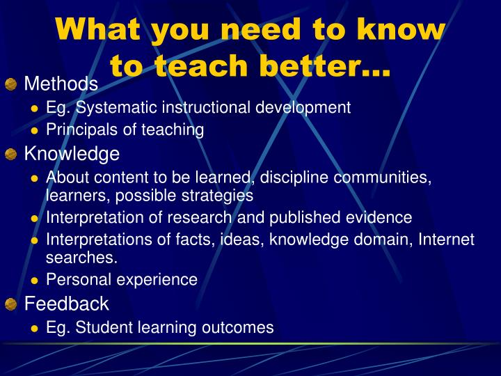 What you need to know to teach better…
